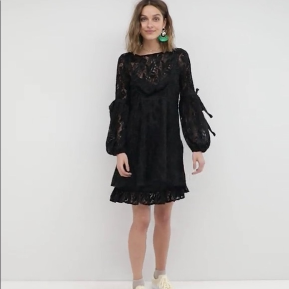 Free People Dresses Ruby Lace Dress With Tie Sleeves Black Poshmark